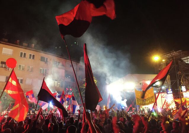 Skopje, Macedonia. People rally to support the national Government's policy