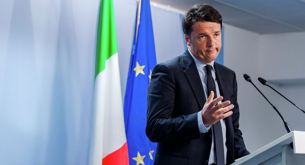 Italian Prime Minister Matteo Renzi speaks during a media conference after an emergency EU summit at the EU Council building in Brussels.