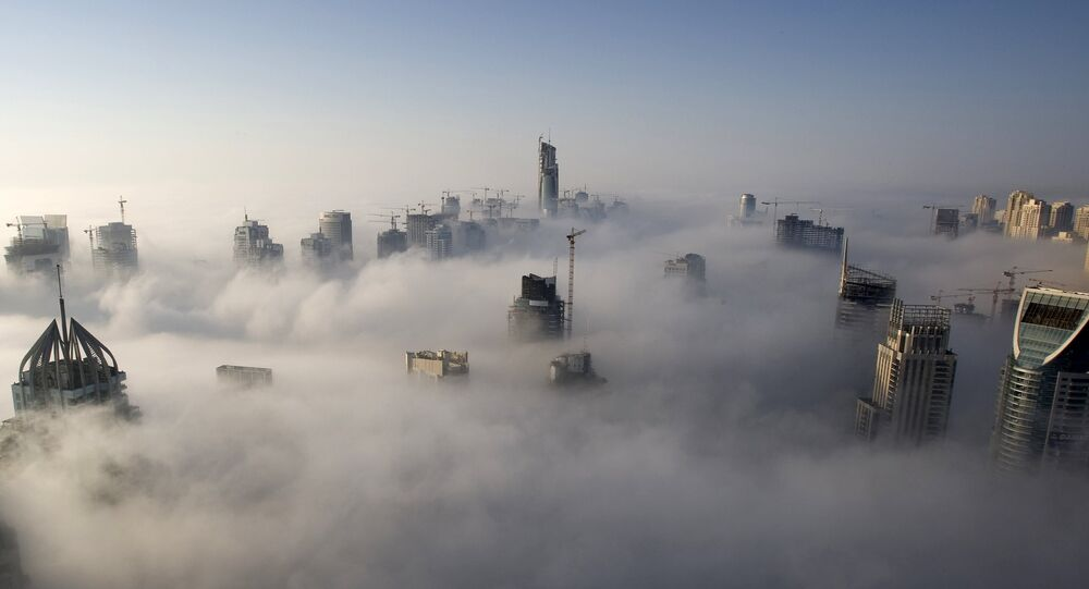Heavy fog rolls by early in the morning near the Dubai Marina, United Arab Emirates.