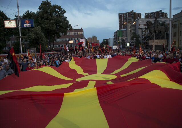 Supporters of the ruling VMRO-DPMNE party and Prime Minister Nikola Gruevski