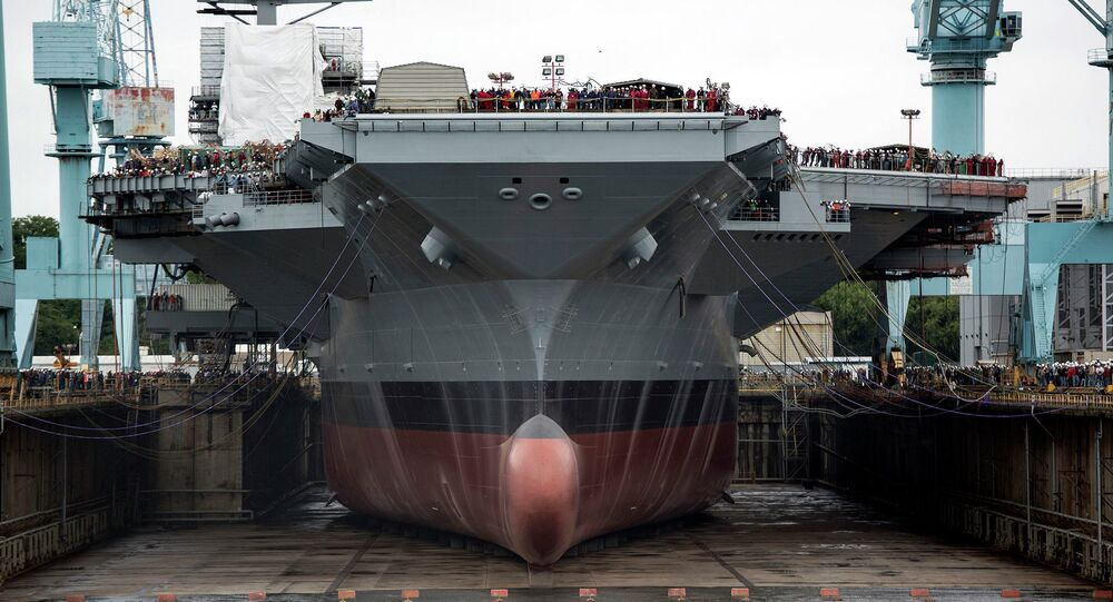 The estimated cost to the US Navy's second Ford-class aircraft carrier is already $370 million above a Congressionally mandated cap set for its construction after the USS Ford - pictured here - ran $2 billion over budget.
