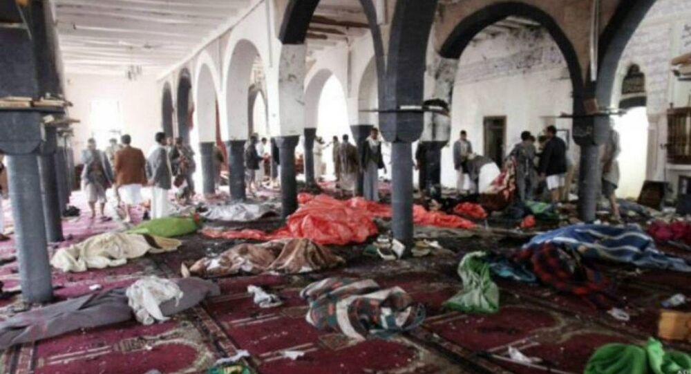 Many casualties cover the floor following mosque bombing in Qatif in Saudi Arabia