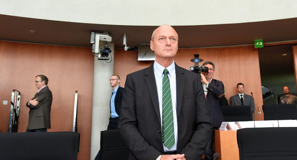 German intelligence service (BND) chief Gerhard Schindler arrives at the enquiry commission on the US intelligence agency NSA in Berlin, on May 21, 2015
