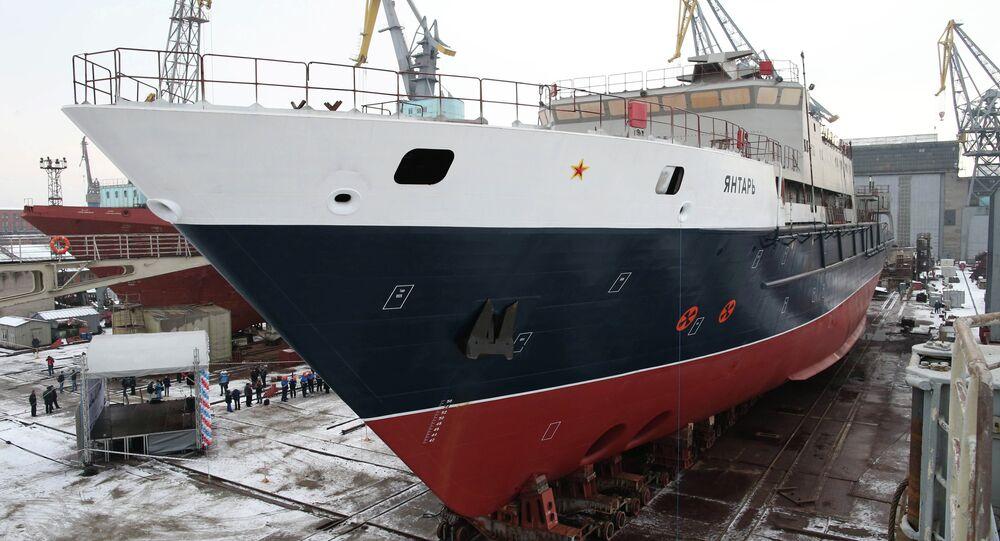 Launching oceanographic ship Yantar