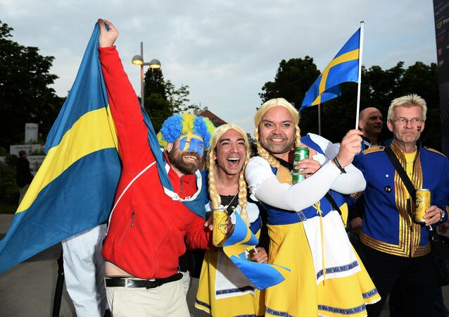 Swedes with flags