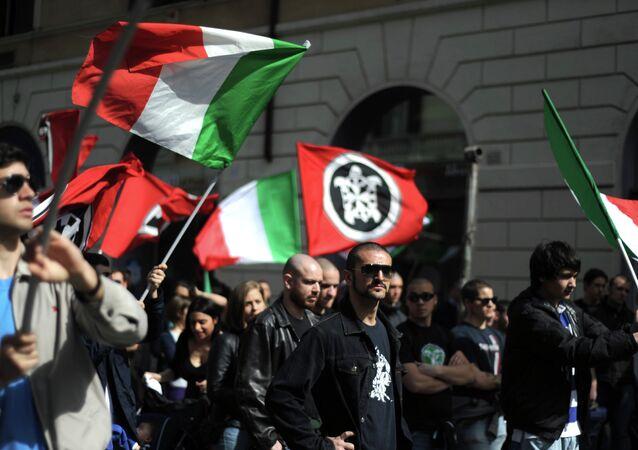 Members of neo-fascit association Casa Pound Italia. File photo