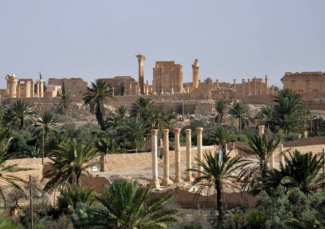 A file picture taken on May 18, 2015 shows the ancient Syrian city of Palmyra, a day after Islamic State (IS) group jihadists fired rockets into the city, killing several people