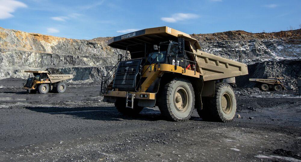 Gold-bearing open pit in Russia's Amur Region.