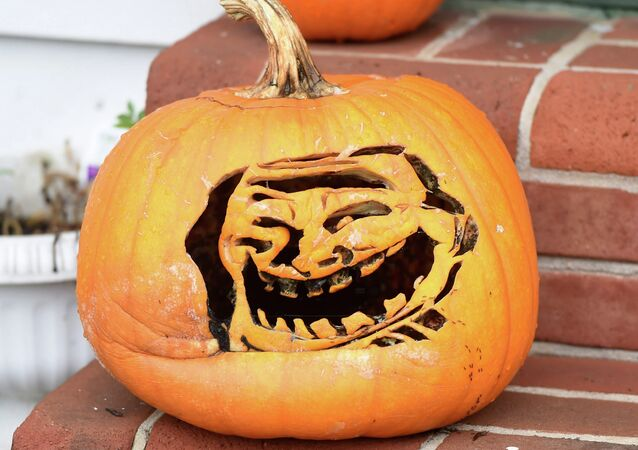This pumpkin on Scotland Ave. in Chambersburg is carved into a popular internet troll face meme on Wednesday, October 15, 2014