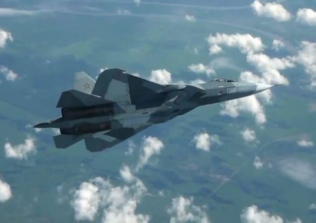 The PAK FA fighter jet in flight.