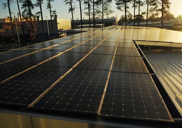 Solar panels at the Sandvik mining equipment factory complex near Newcastle in Australia's New South Wales state