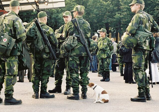 Green men and small dog.  Stockholm, Sweden