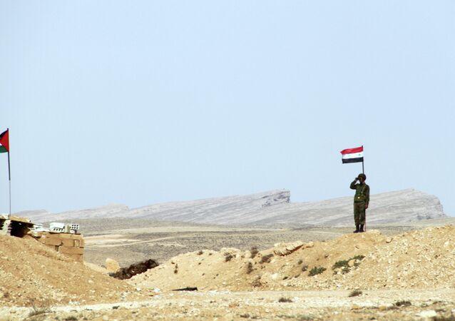 A checkpoint on the Syrina border with Lebanon near Qalamoun, Syria