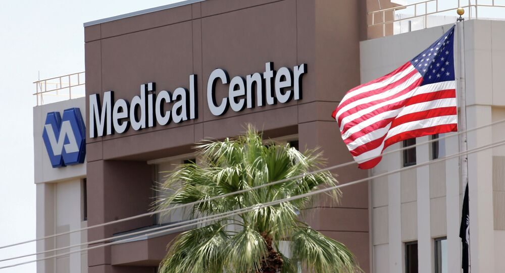 This photo from Saturday, May 17, 2014 shows the Department of Veterans Affairs in Phoenix