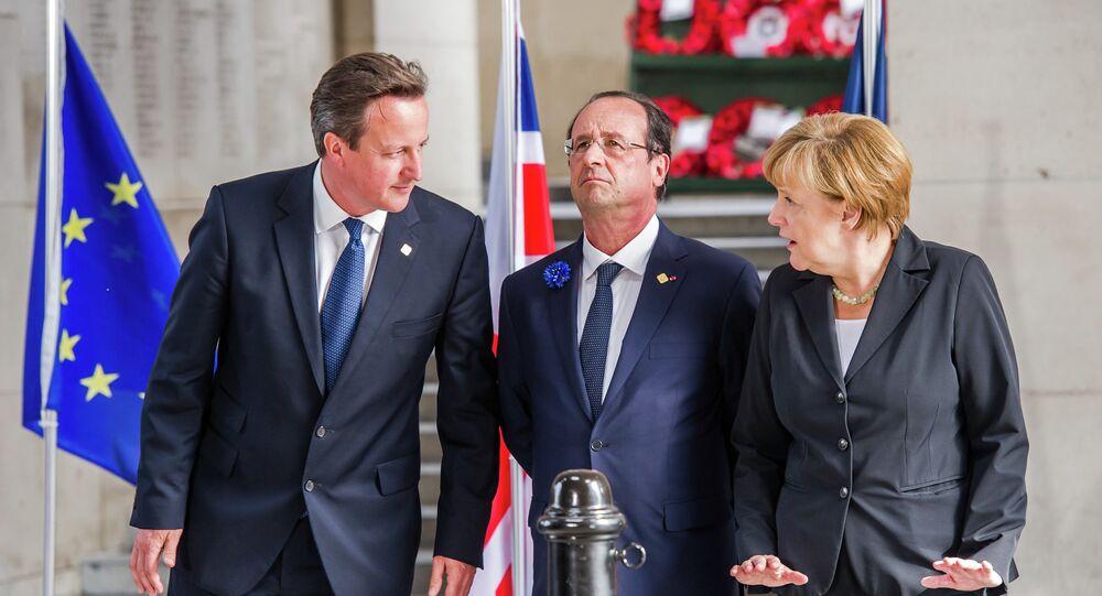 From left, British Prime Minister David Cameron, French President Francois Hollande and German Chancellor Angela Merkel