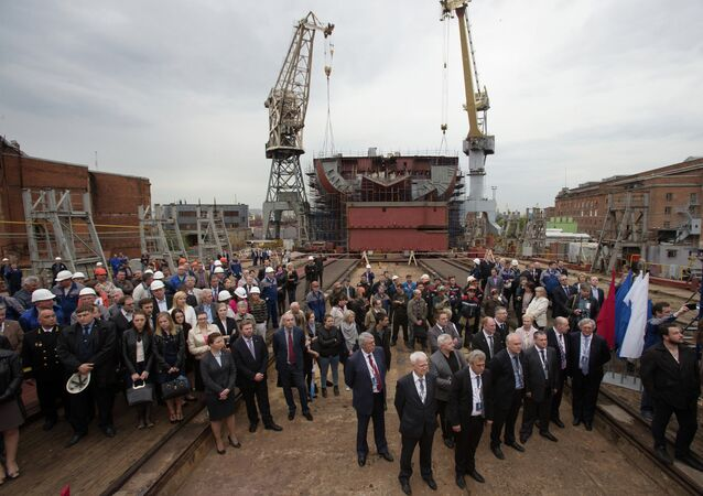 The ceremony of launching the serial construction of the first nuclear icebreaker for the Arctic (Project 22220) at berth A of the Baltic Shipyard