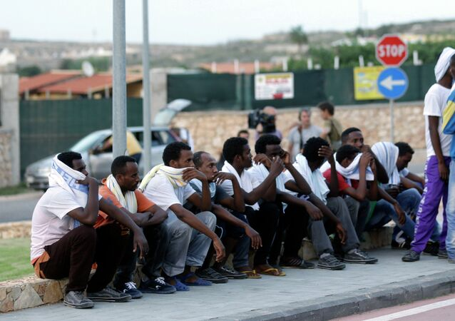 Migrants from Eritrea in Lampedusa, Italy