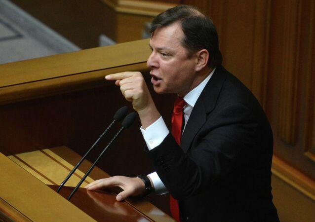 Radical Party leader Oleh Lyashko at a Verkhovna Rada meeting.