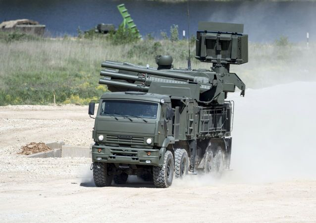 "Pantsir-S SA-22 Greyhound self-propelled surface-to-air missile system during equipment demonstration at the International Military-Technical Forum ""ARMY-2015"" in Moscow region."