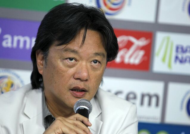 Eduardo Li, President of Costa Rica's Football Federation, speaks to the media in San Antonio de Belen in Costa Rica, in this May 17, 2011 file photo