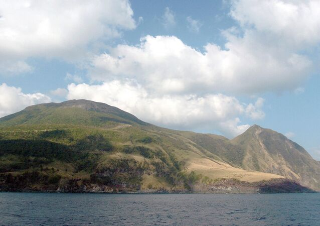 In this Oct. 4, 2004 photo, the volcanic island of Kuchinoerabu-jima, about 30 miles (50 kilometers) off the coast of Japan's southern Kyushu island, is shown.