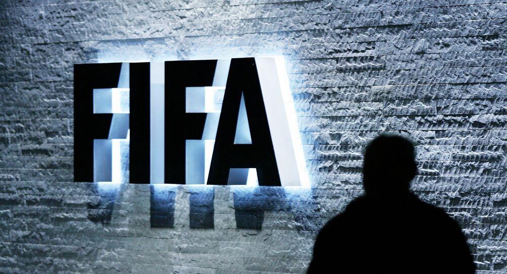 The FIFA logo at the headquarters Zurich, Switzerland