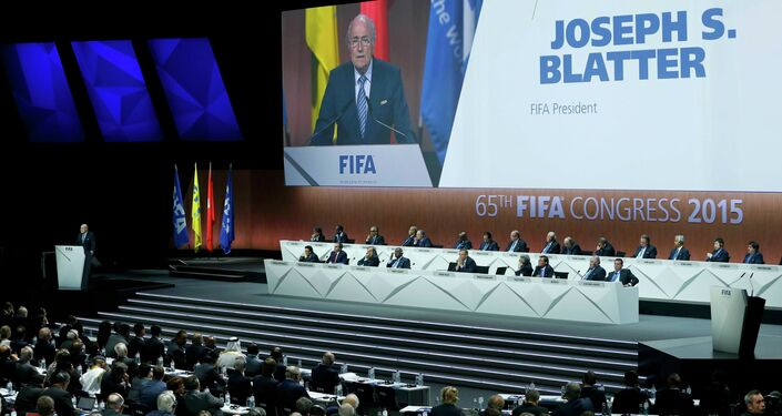 FIFA President Sepp Blatter delivers an opening speech at the 65th FIFA Congress in Zurich, Switzerland, May 29, 2015