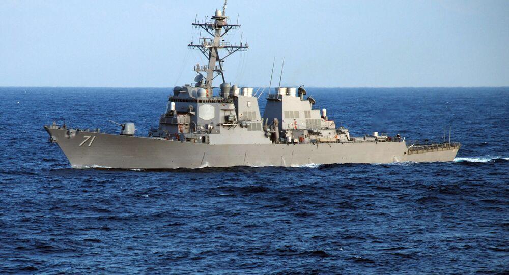 Guided-missile destroyer USS Ross (DDG 71) crosses the Atlantic Ocean