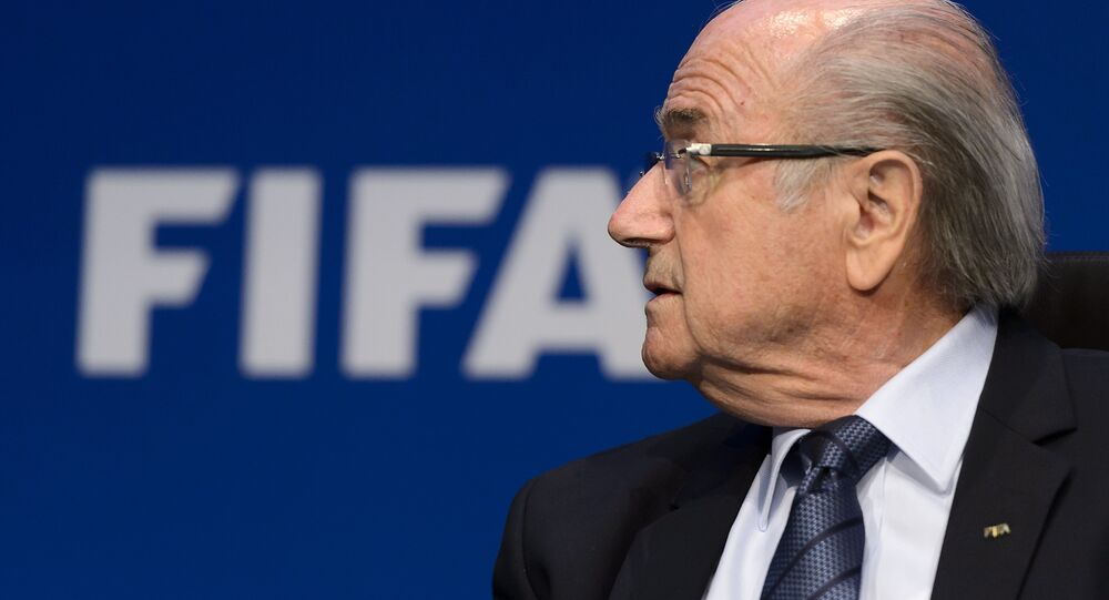 Sepp Blatter attends a press conference on May 30, 2015 in Zurich after being re-elected during the FIFA Congress.