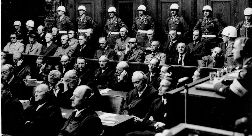 In this Sept. 30, 1946 b/w file picture defendants hear parts of the verdict in the Palace of Justice at the Nuremberg War Crimes Trial in Germany on Sept. 30, 1946