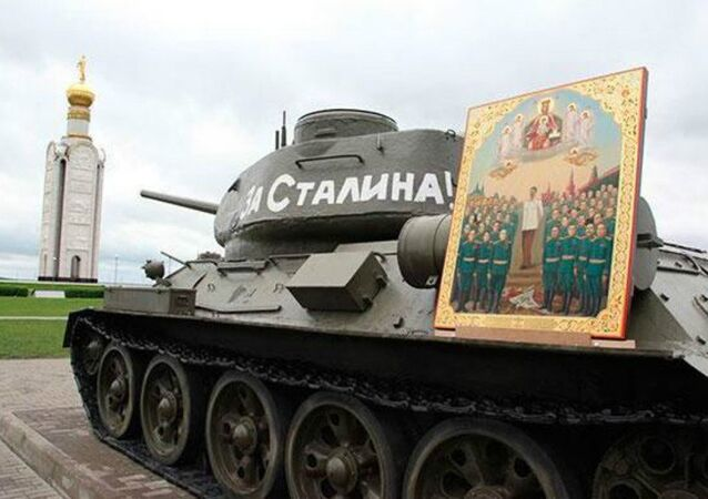 Representatives of the Belgorod Archdiocese of the Russian Orthodox Church have issued a statement denouncing a painting created in the style of an Orthodox icon featuring Joseph Stalin and Soviet WW2 generals.