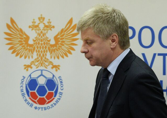 Nikolai Tolstykh, the President of the Russian Football Union, before a meeting of the Union's Executive Committee