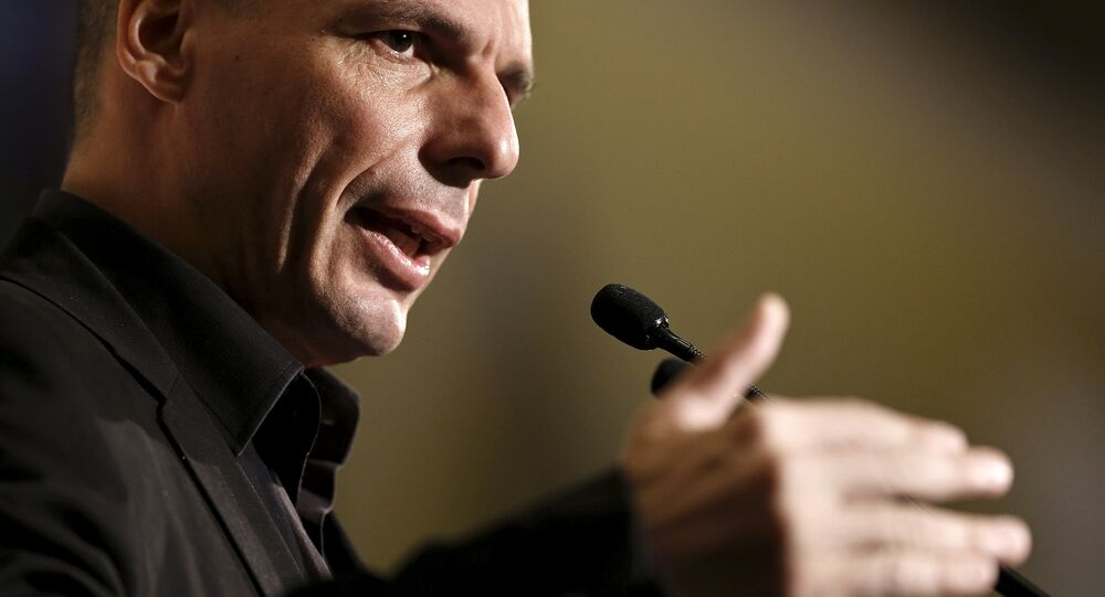 Greek Finance Minister Yanis Varoufakis delivers a speech during The Economist conference on Europe: The comeback, Greece: How resilient?
