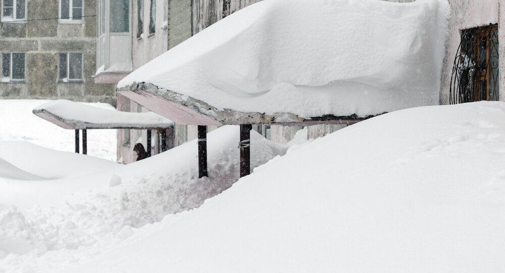 Aftermath of snowstorm in Kamchatka region