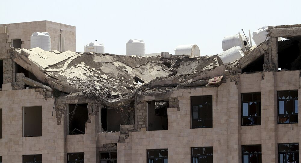 The Yemeni Football Association building, which was damaged in a Saudi-led air strike, is seen in Sanaa May 31, 2015. Aircraft from a Saudi-led coalition bombed Yemen's Houthi rebels throughout the country on Sunday, residents said, a day after border clashes killed a Saudi serviceman