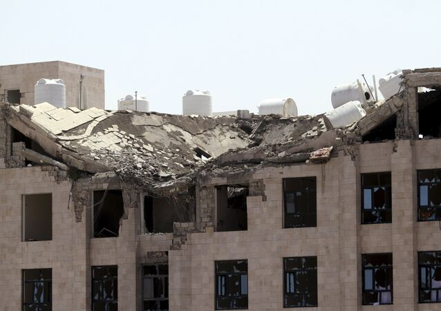The Yemeni Football Association building, which was damaged in a Saudi-led air strike, is seen in Sanaa May 31, 2015. Aircraft from a Saudi-led coalition bombed Yemen's Houthi rebels throughout the country on Sunday, residents said, a day after border clashes killed a Saudi serviceman.