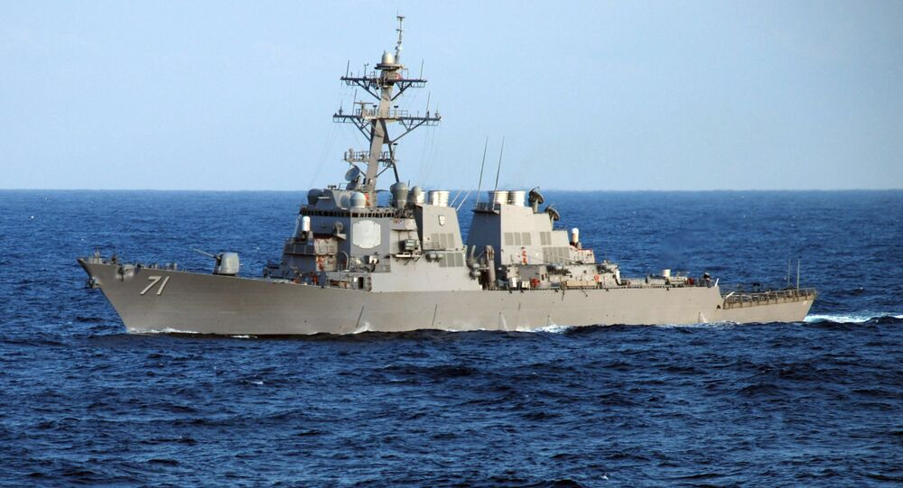The guided-missile destroyer USS Ross (DDG 71) crosses the Atlantic Ocean as part of the Nassau Expeditionary Strike Group