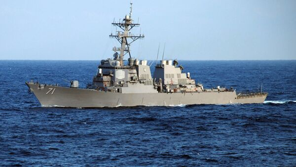 The guided-missile destroyer USS Ross (DDG 71) crosses the Atlantic Ocean as part of the Nassau Expeditionary Strike Group - Sputnik International