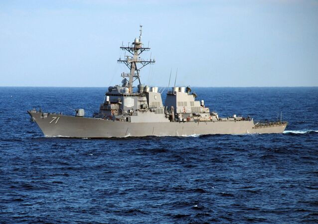 The guided-missile destroyer USS Ross (DDG 71) crosses the Atlantic Ocean as part of the Nassau Expeditionary Strike Group. File photo