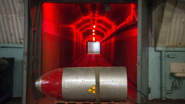 A nuclear warhead on a cart in a tunnel of the nuclear arsenal loading area at the Balaklava Naval Museum - Sputnik International