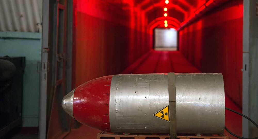 A nuclear warhead on a cart in a tunnel of the nuclear arsenal loading area at the Balaklava Naval Museum