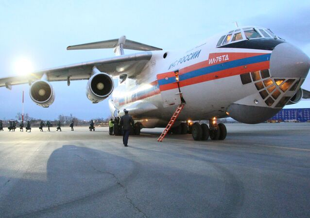 An Il-76td, used by cadets of the Emergencies Ministry's Siberian Fire Rescue Academy to render comprehensive aid to the fire-afflicted population of Khakassia