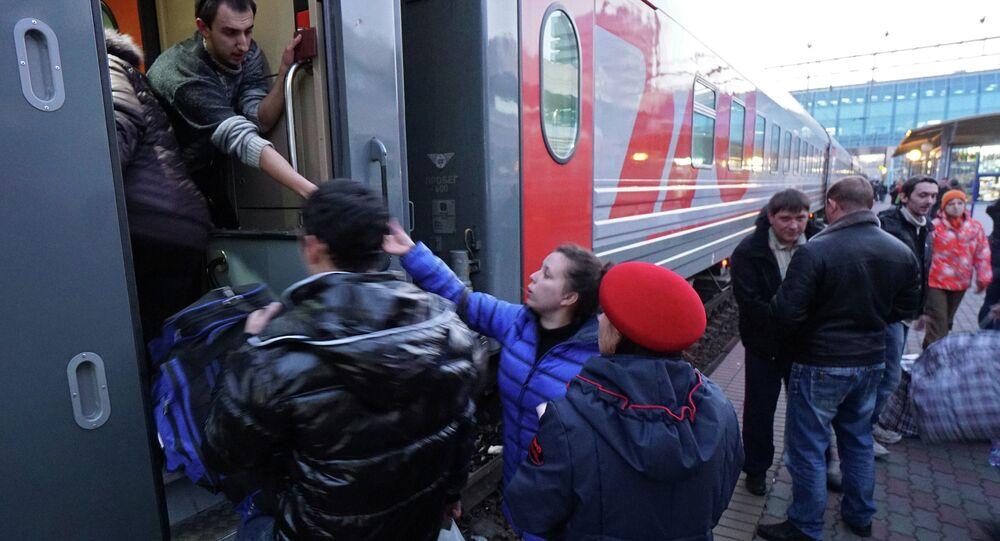 Ukrainian refugees at Rostov-on-Don railway station