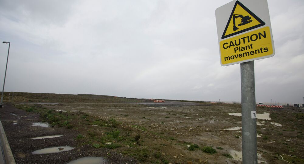 A picture shows development land where the reactors of Hinkly C nuclear power station at Hinkley Point will be built on the west coast of England