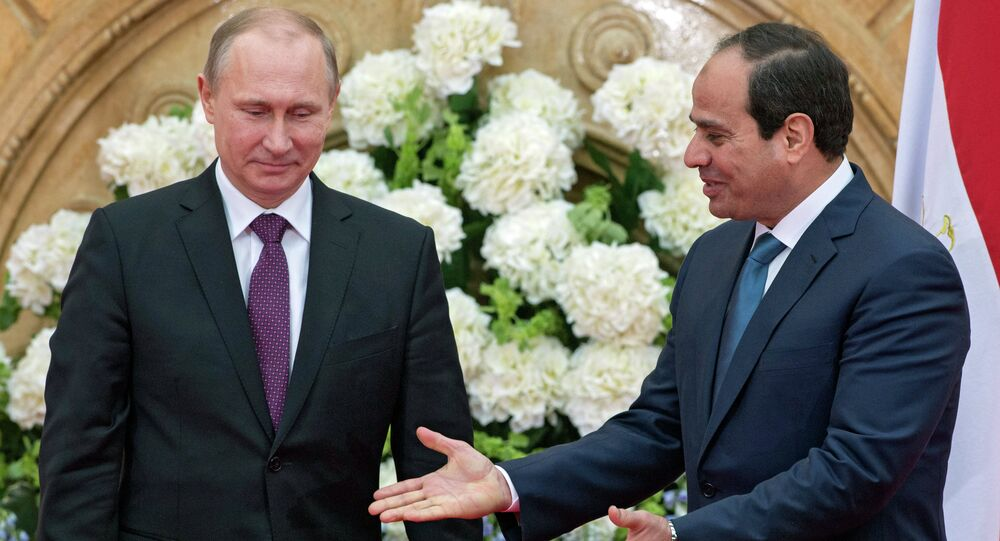 February 10, 2015. President Vladimir Putin (left) and his Egyptian counterpart Abdel Fattah al-Sisi make a joint statement for the press on the results of Russian-Egyptian talks in Cairo