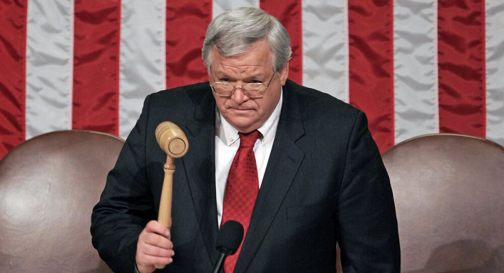 US House Speaker Dennis Hastert, Republican of Illinois, prior to the arrival of US President George W. Bush for the State of the Union address, on the floor of the House of Representatives in Washington, DC. File photo