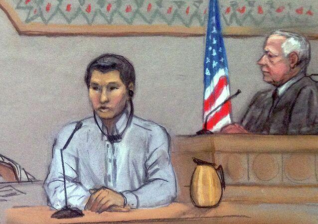 Dias Kadyrbayev, left, testifies in federal court in Boston