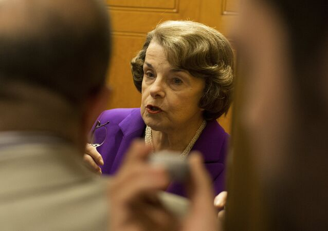 Senator Dianne Feinstein, D-CA, speaks to the press in the Senate at the US Capitol in Washington, DC on May 31, 2015