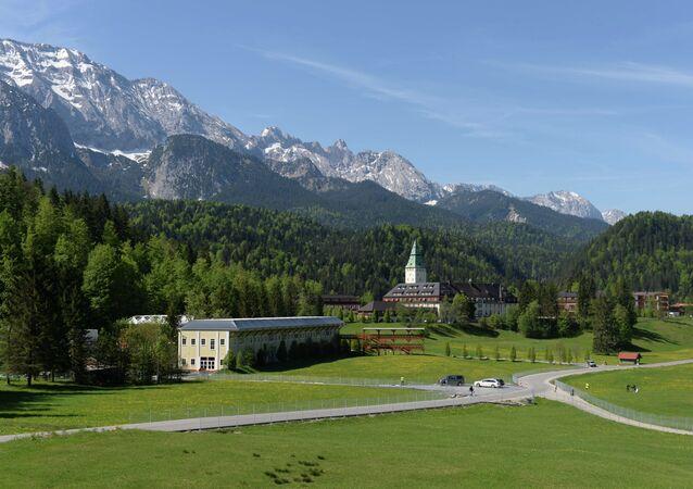 The castle hotel Schloss Elmau is pictured in Elmau near Garmisch-Partenkirchen, southern Germany