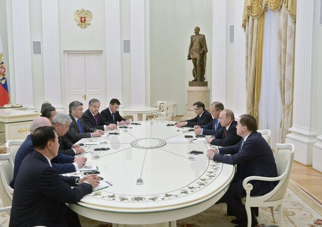 June 3, 2015. Russian President Vladimir Putin, second right, meets with attendees at the SCO Council of Ministers of Foreign Affairs Meeting in the Kremlin